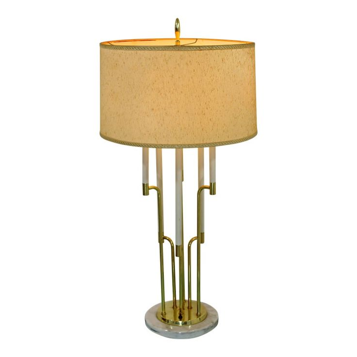 Mid-Century Modern Tommi Parzinger Style Candelbra Brass & Marble Table Lamp