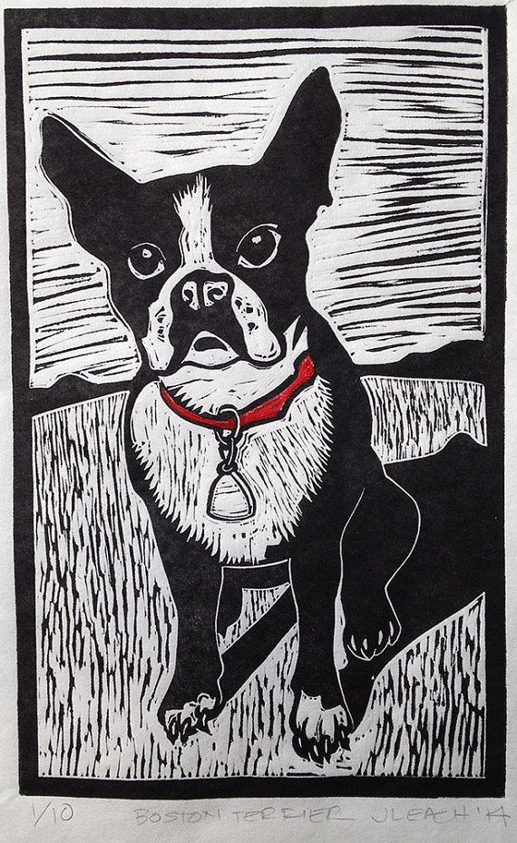 Boston Terrier linocut woodcut linoleum block by SawingLogsGallery