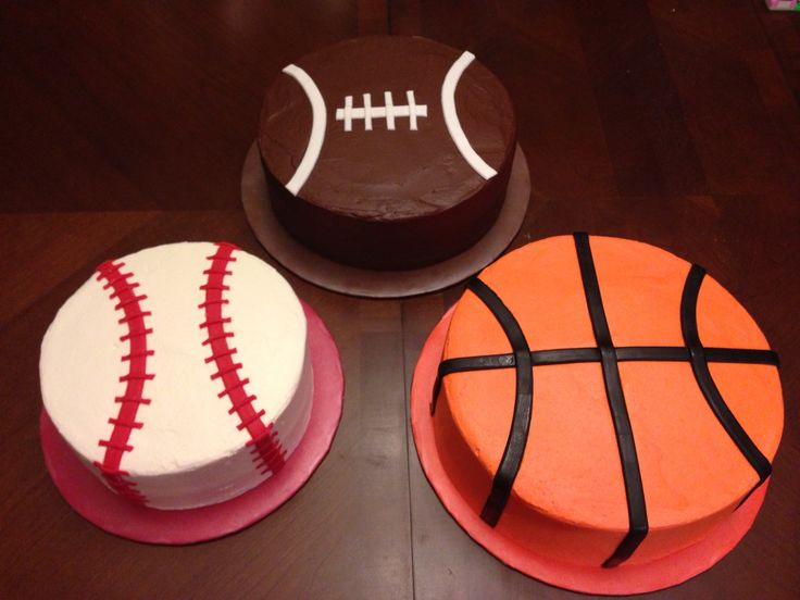 Baseball, football, basketball cakes