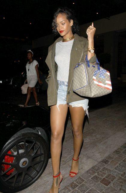 Rihanna carrying Gucci USA GG Flag Collection handbag