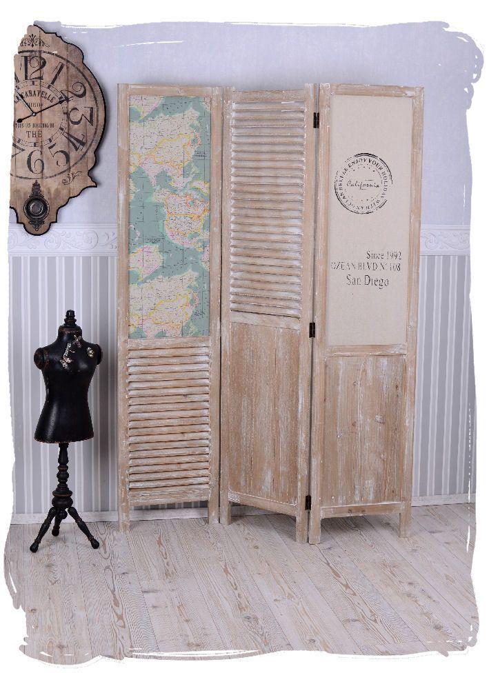 Separador de ambientes en estilo casa de campo madera biombo.