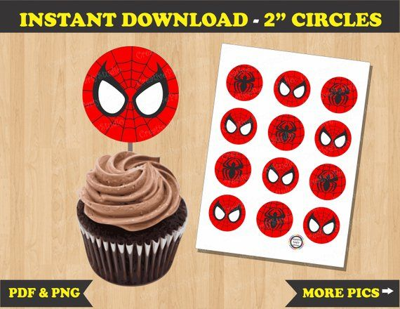 Outstanding Spiderman Cupcake Toppers Spiderman Birthday Spiderman Party Funny Birthday Cards Online Unhofree Goldxyz