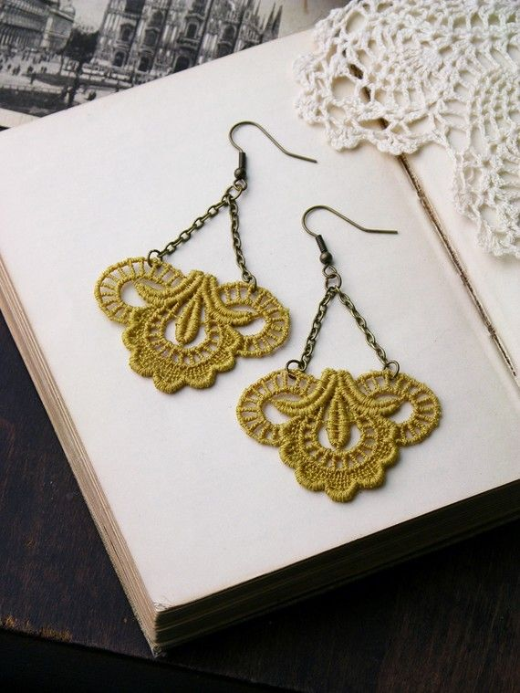 Lace earrings by White Owl on Etsy. Gorgeous!