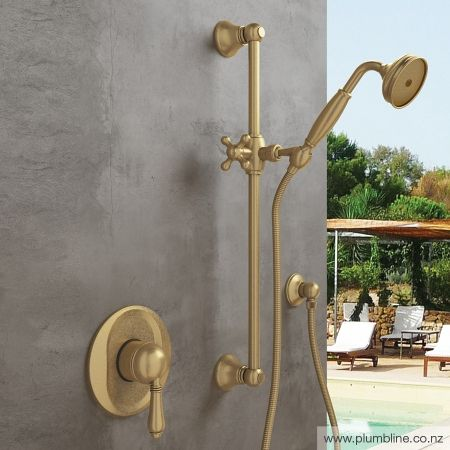 Regal Shower Mixer Raw Brass With Metal Lever Handle - Shower Tapware - Bathroom