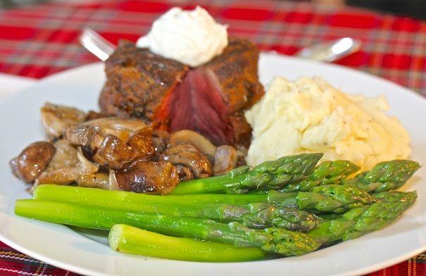 , Beef Tenderloin with Horseradish Cream, Sauteed Mushrooms, Fresh ...