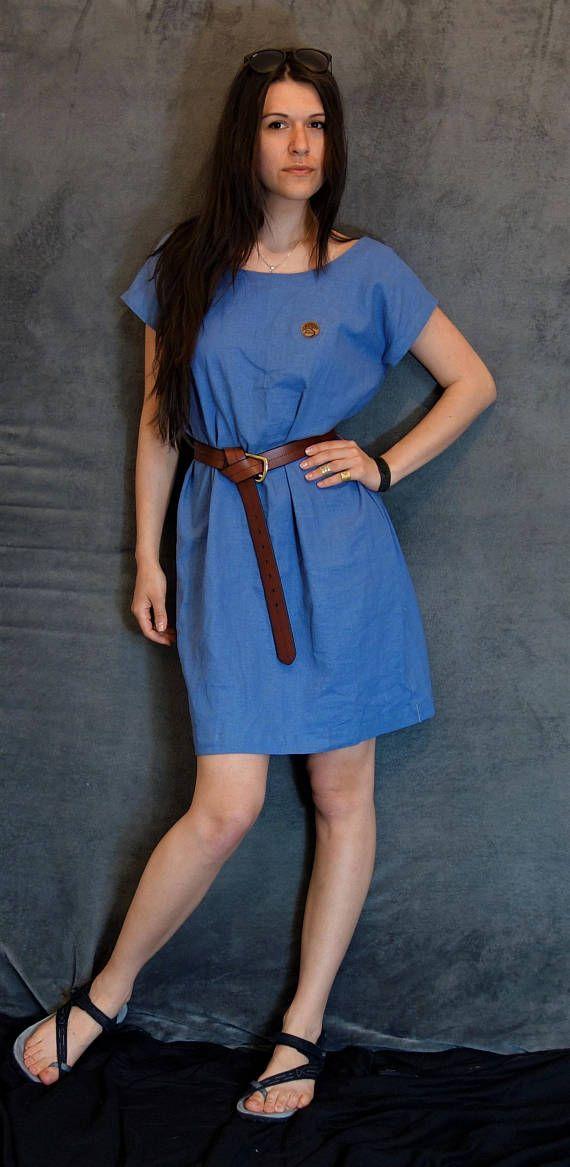 Blue Linen/Cotton Dress Handmade Dress Natural Fabric
