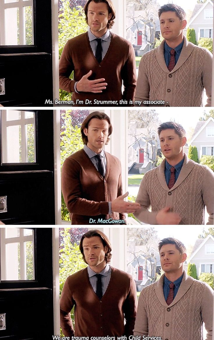 Supernatural 11x08 Just My Imagination [gifset] - Sam and Dean in cardigans - oh my, I had no idea. They look so cuddly now!