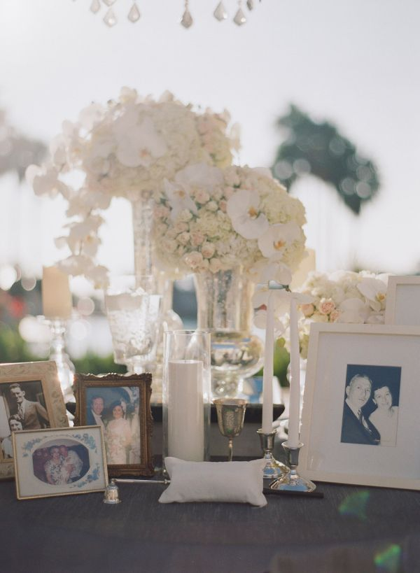 Love this photo tribute to the families of the couple at the reception!