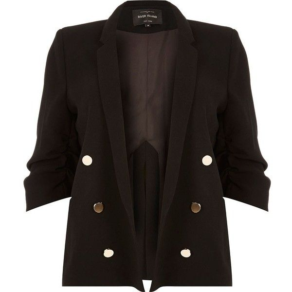 River Island RI Plus black buttoned blazer (7,410 INR) ❤ liked on Polyvore featuring outerwear, jackets, blazers, black, coats / jackets, women, ruched sleeve blazer, blazer jacket, plus size womens jackets and plus size blazer jacket