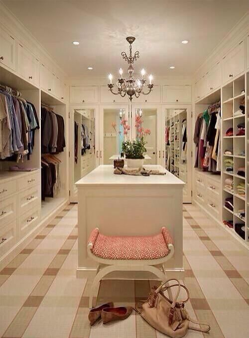 Dream closet...I love the pink bench for my dressing room!