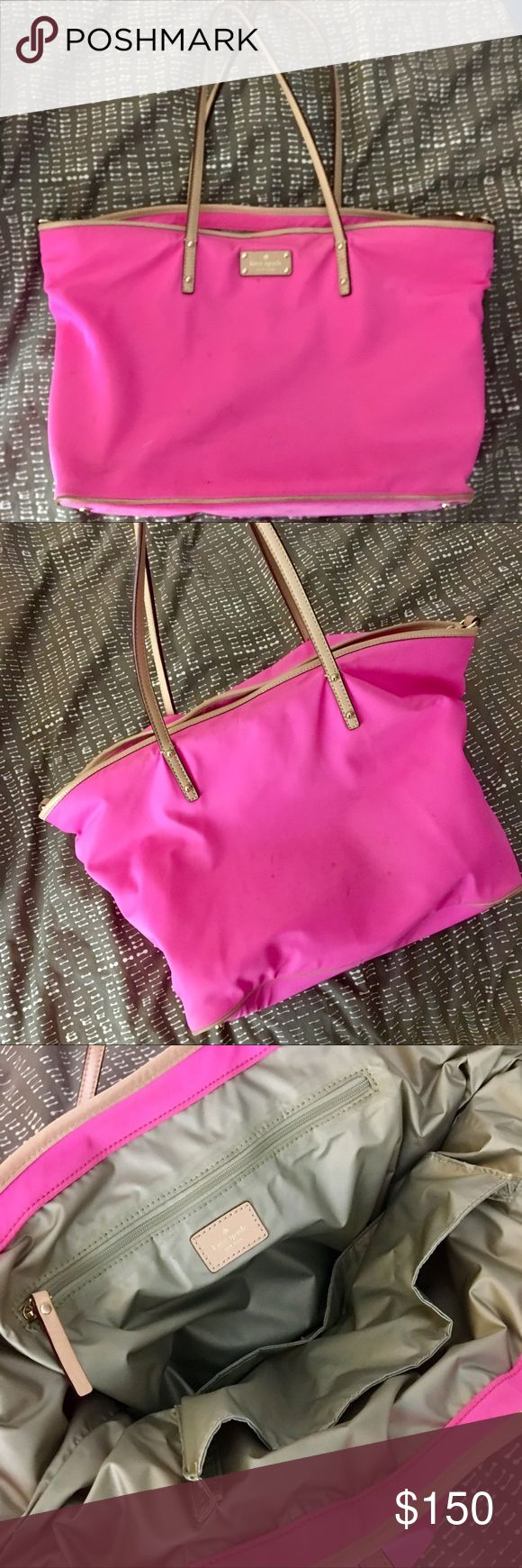 Kate Spade Nylon Tote Bag- pink Tons of pockets inside. Made of a very easy to clean nylon fabric. kate spade Bags Totes