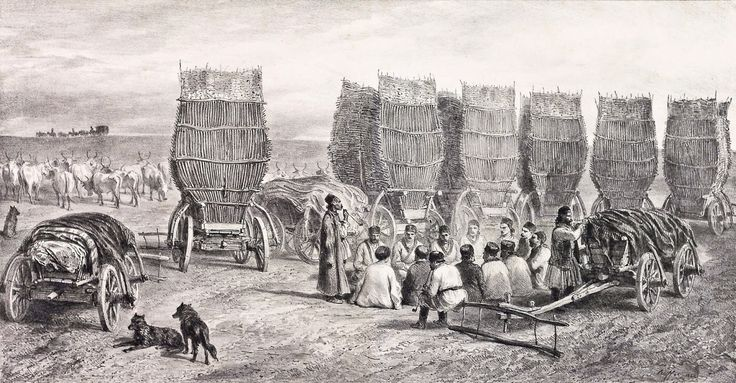Auguste Raffet - Halt of a Moldovan caravan transporting coal, 1844