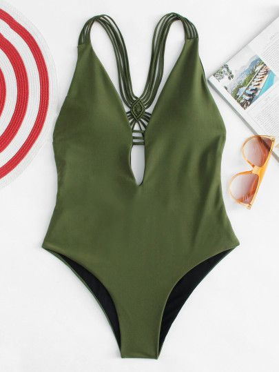 856e4fc64a Backless Woven Swimsuit -SheIn(Sheinside) | bathing suits in 2019 ...