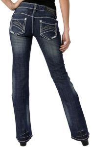 Rock & Roll Cowgirl® Women's Dark Wash with Abstract Stitching Open Pockets Boot Cut Jeans | Cavender's @Cavender's