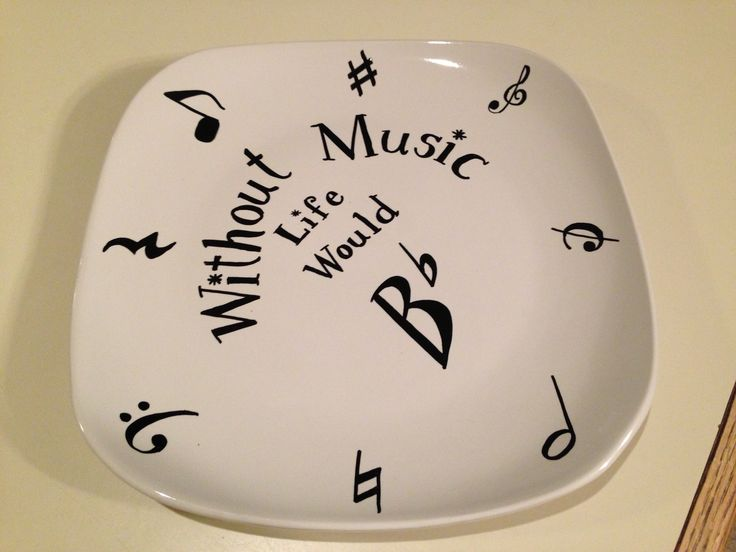 Oil-based Sharpies + Dollar Tree plate = loads of fun & a great gift for the music teacher!