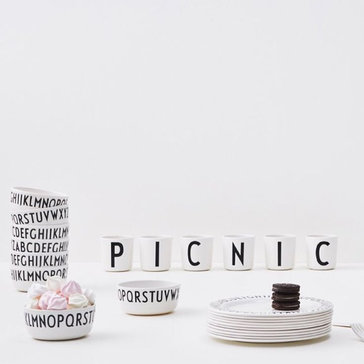 The weather is perfect for a picnic, bring along our melamine range, for a cool and graphic look. Design Letters + Arne Jacobsen