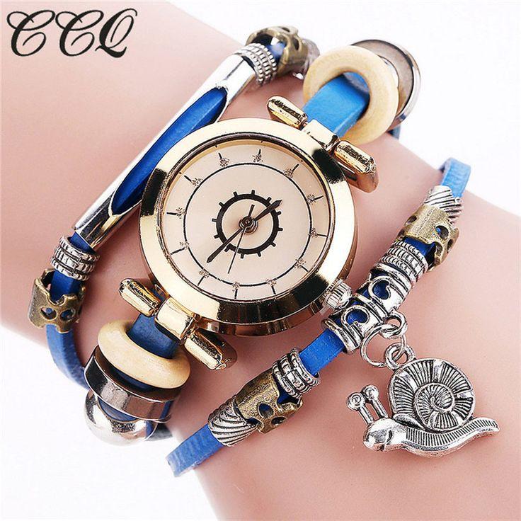 CCQ Vintage Watch Women Quartz Clock Leather Bracelet Watches Pendant Punk Style Ladies Analog Wristwatch reloj mujer Relogio