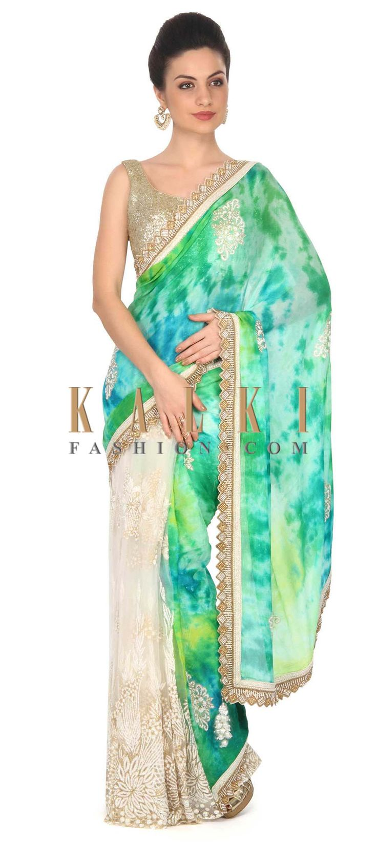Buy this Shaded saree in green with embellished butti and border only on Kalk