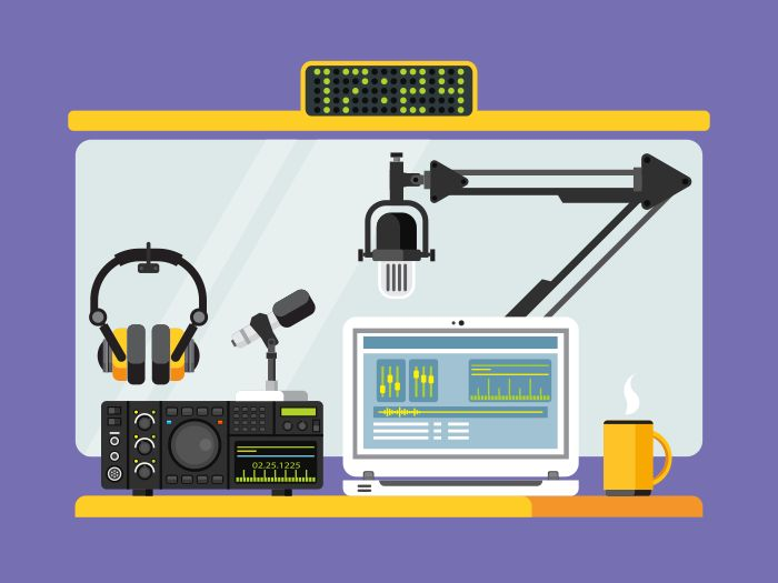Professional radio station studio with microphone and other equipment on table flat vector illustrationVector files, fully editable.