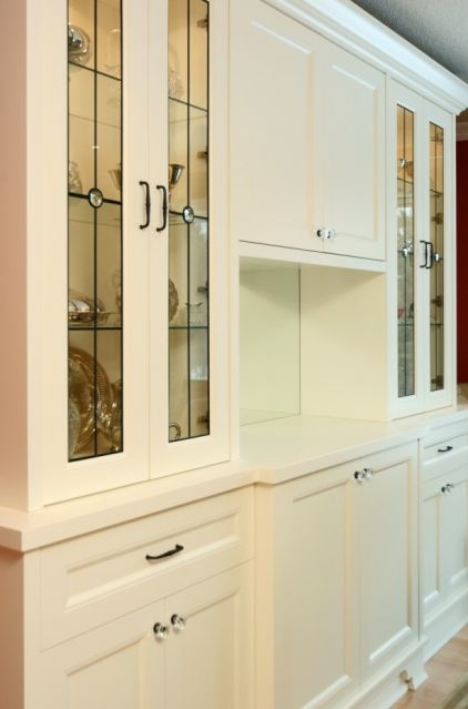 Leaded Glass cabinetry, dining room extra storage?