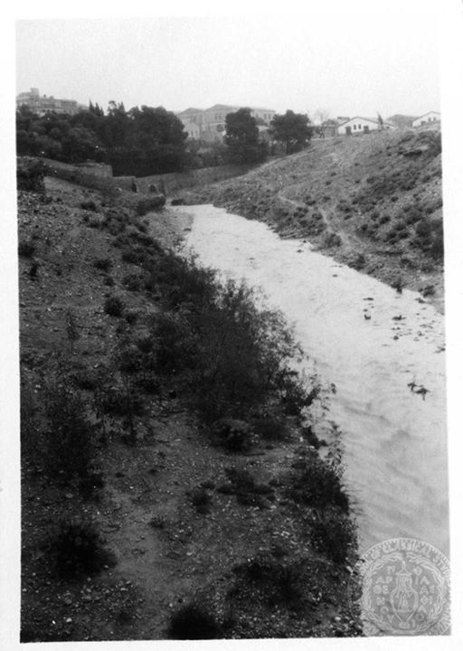 Ilissos River (Athens) in flood  1931  This is a photo of the Illissos river, where Boreas kidnapped Orithyia, an Athenian princess, as she danced on the banks with her sisters.