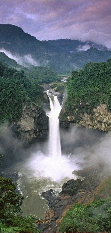 Beautiful falls of Yasuni National Park in Ecuador