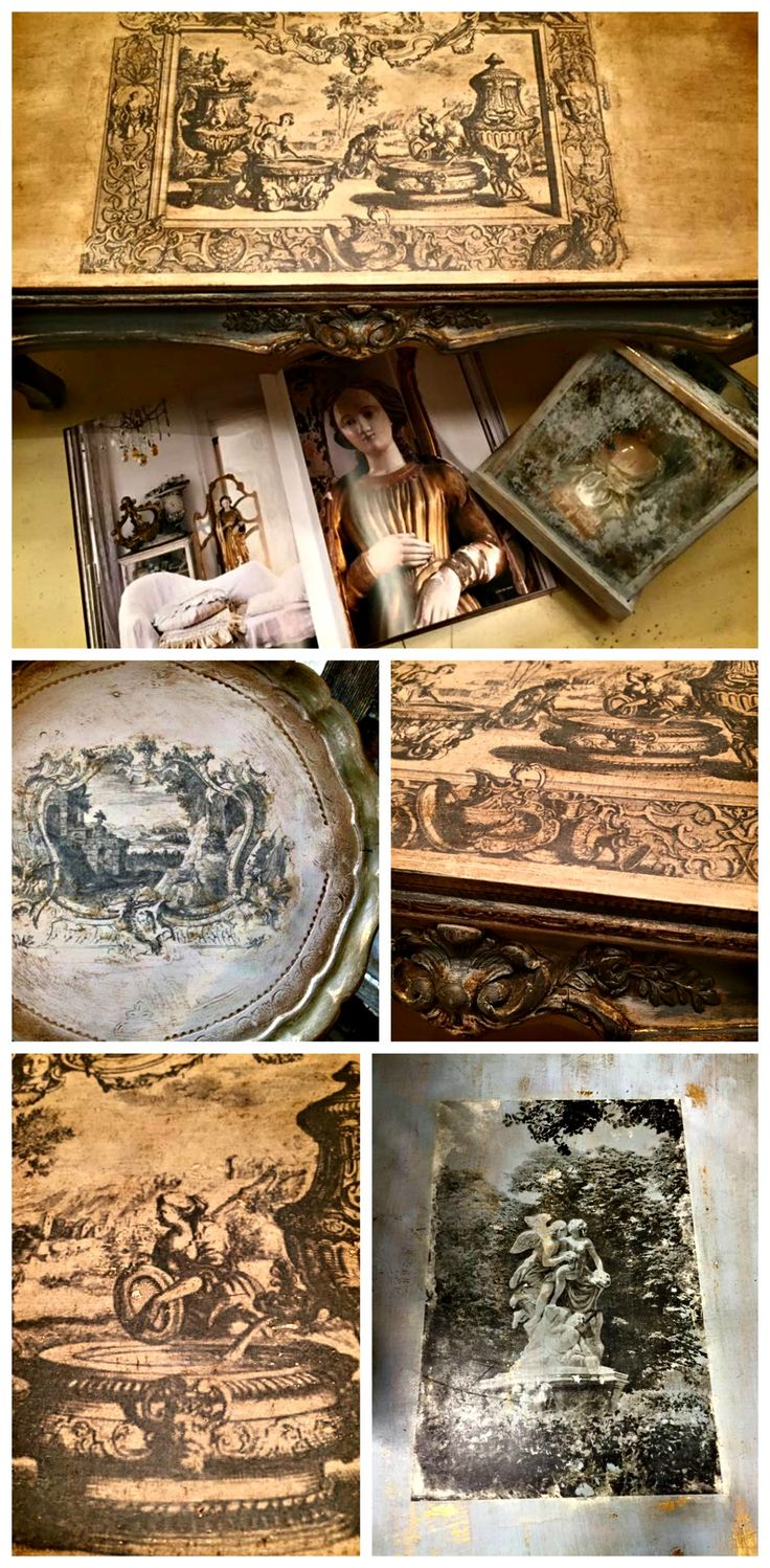 Artisan Enhancements Transfer Gel was used to transfer these antique old world images onto wonderfully painted and aged table tops by the talented Glo of Farm French!  Visit her on Facebook for more inspiration!