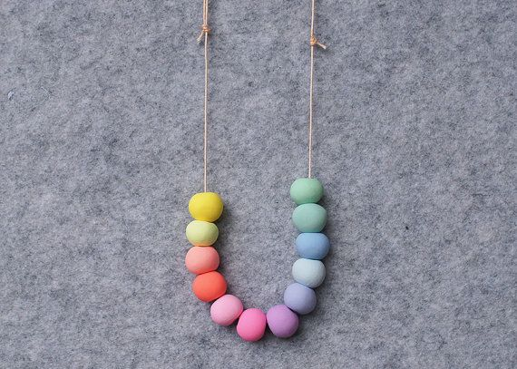 Polymer Clay Necklace for Girls, Handmade Round Beads, Choice of Cord, Adjustable or Stretch, in Pastel Rainbow Little Ena Collection