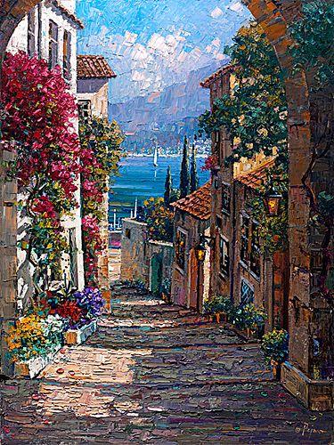 """""""Cadaques Village I"""" Oil on Canvas, 30""""x40"""" - Bob Pejman"""
