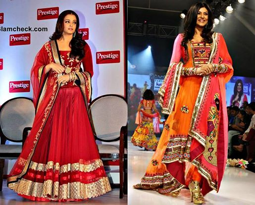 Aishwarya in a deep red lehenga and long velvet choli with floral gold embroidery and Sushmita Sen in orange kutch work cocktail anarkalli with heavy dupatta.