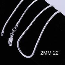 Venta al por mayor nueva moda 925 hermosos collares 2 mm 22 pulgadas collar de cadena de serpiente 925 joyería de plata esterlina C010(China (Mainland))