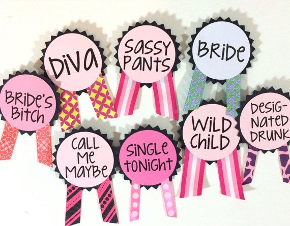 Bachelorette Party Pins Name Tags Bachelorette door LetsWearDresses