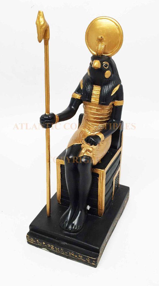 Ancient Egyptian Religion Decorative Falcon Horus Sitting on Throne God Statue