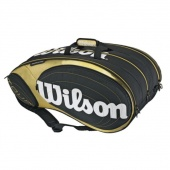 The Wilson Tour 9 Pack Tennis Bag has three racquet compartments that hold up to three racquets each. Two zippered accessory compartments at each end of bag for gear storage, and screen printed Wilson Tour logo on each side of bag.
