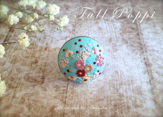SPRING SKY Hand crafted polymer clay ring от TallPoppi на Etsy