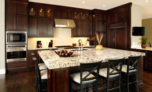 Dark Wood Kitchen Cabinets  Could you make this design look less