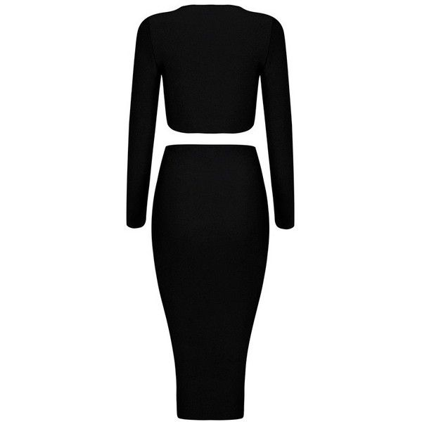 Long Sleeve Lace Up Midi Two Piece Bandage Dress Black (4.235 UYU) ❤ liked on Polyvore featuring dresses, gowns, two piece bandage dress, two piece gown, bandage midi dress, midi evening dresses and laced dress