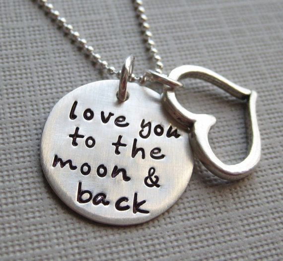 Love you to the moon and back necklace by jcjewelrydesign on Etsy, $44.00. I always say this to Jason!