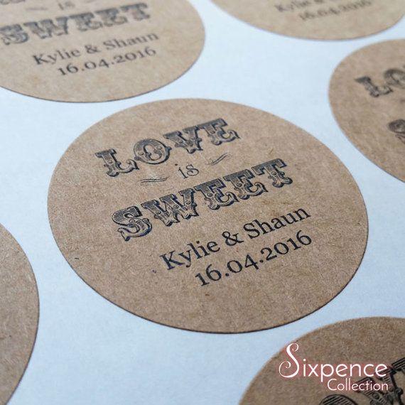 48 xPersonalised kraft brown love is sweet stickers custom