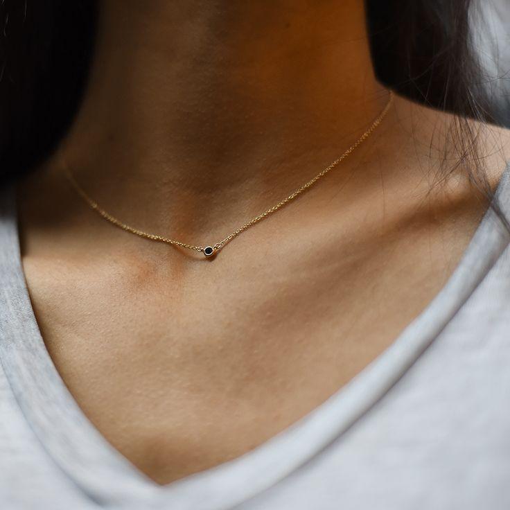 Black diamond necklace. Mejuri handcrafted, everyday fine jewelry.