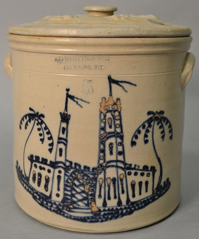 Stoneware five gallon double handle New York crock having impressed mark of A. O. Whittemore Havana N.Y. ~ Realized Price $6,600.00 #nadeausauction