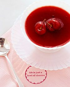 Cold cherry soup is a wonderful dessert for guests to sip before or after the cake. Rubber-stamped napkins emphasize the soup's flavor and the felicitous tone of the entire day.