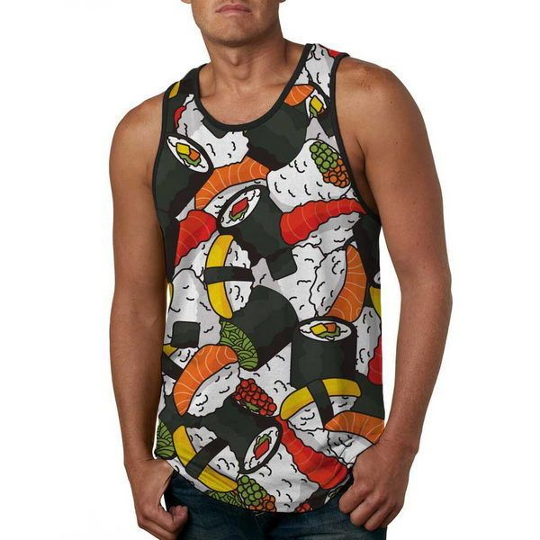 Men Fashion Tank Top Sushi Full Black Pattern - Anti UV #HoomanDesign #TankTop #japan #fashion #apparel #tshirt #war #sushi #ebay