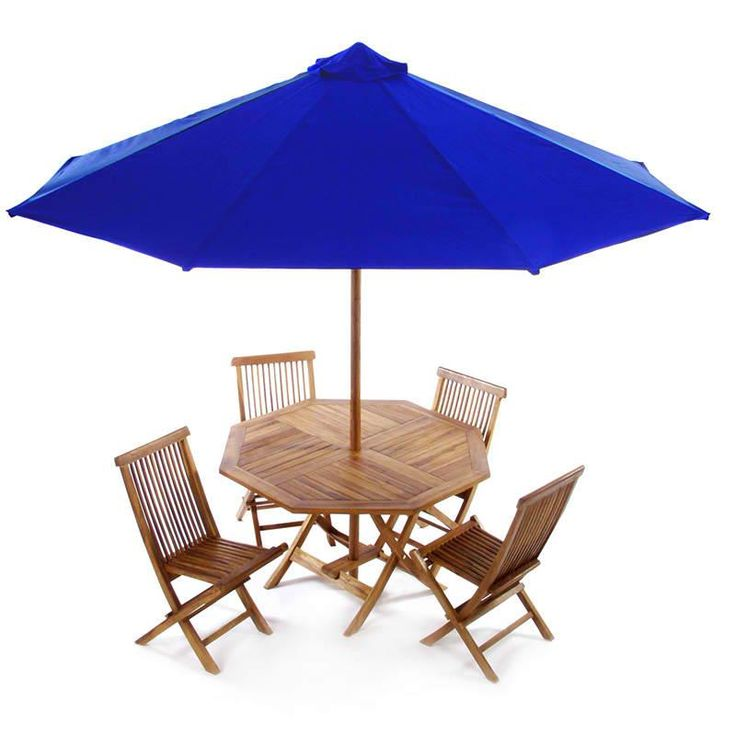 6 Piece Folding Set This Beautiful Set Includes Or Teak Folding Table,  Umbrella, And 4 Teak Folding Chairs. Cushions Available In 3 Colors.