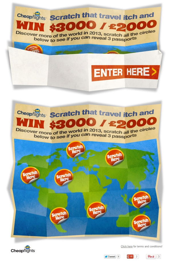 "Cheapfights  ""Scratch that travel itch"" competition by Reme Le Hane, via Behance"