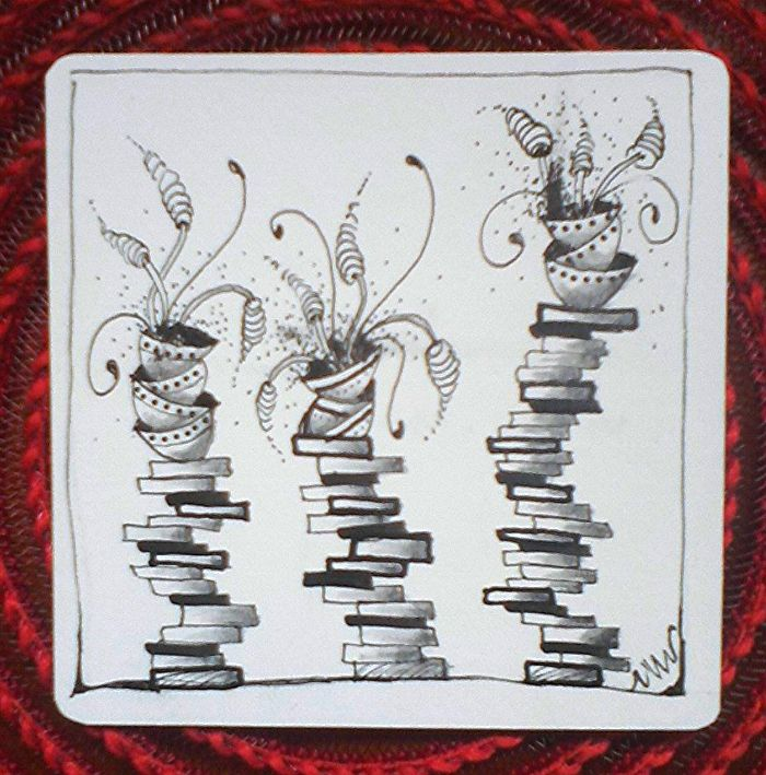 for Square One: Purely Zentangle-patterns used-BB, Pots & Pans, and Zingers