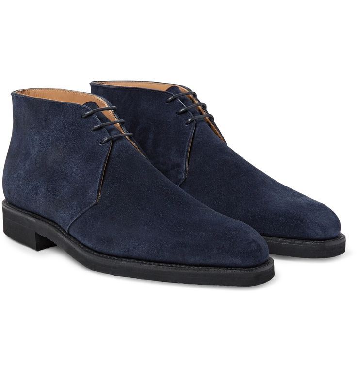Designed exclusively for MR PORTER. Impeccable craftsmanship is non-negotiable for George Cleverley - the inherently British brand requires all its shoemakers to go through a rigorous three to five year apprenticeship. These 'Nathan' chukka boots are faultlessly made from navy suede and set on durable Vibram® rubber soles for traction. Wear yours with everything from khaki chinos to inky jeans.