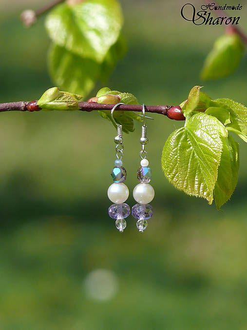 Sharon.handmade / Krátke korálkové fialová/biela