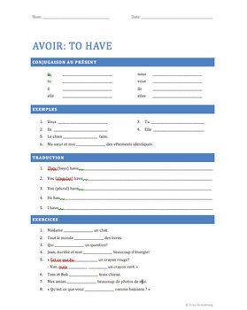 Avoir au present - French Verb Review - PowerPoint & Worksheet