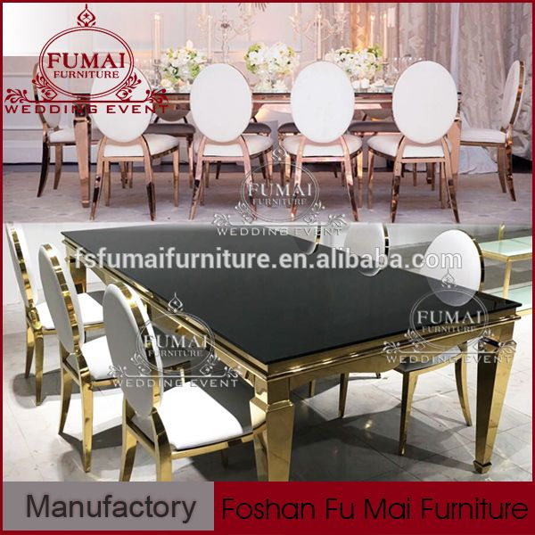 Four Legs Gold Stainless Steel Luxury Dining Table Set For Hotel Ceremony